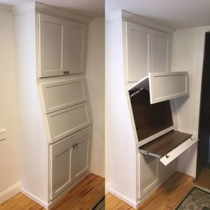 bookshelf with desk built in