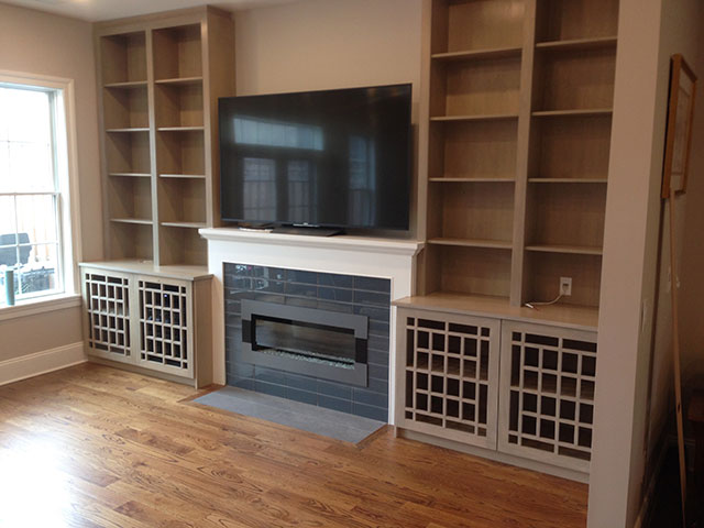 Conceal Cables And Wires Built In Cabinets Around Fireplace Philadelphia